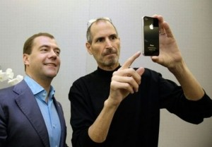 Apple CEO Jobs shows an iPhone 4 to Russia's President Medvedev during his visit to Silicon Valley in Cupertino